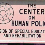 An early Center on Human Policy sign